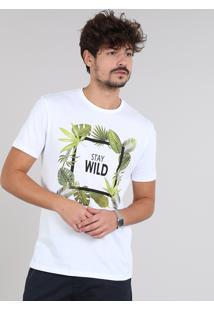 "Camiseta Masculina ""Stay Wild"" Manga Curta Gola Careca Branca"