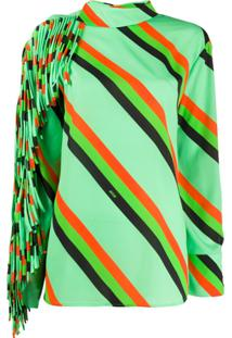 Msgm Blusa Listrada Na Diagonal Com Franjas - Verde