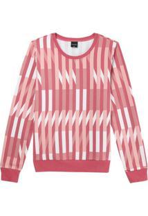 Blusão Rosa Geométrica Em Moletom