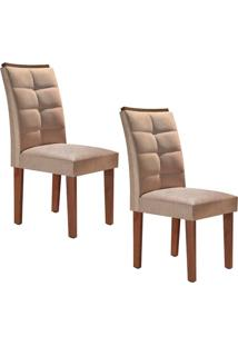 Conjunto Com 2 Cadeiras Villa Rica Chocolate E Pena