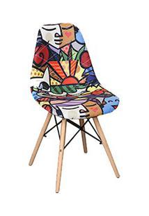 Cadeira Eiffel Charles Eames Estofada Arte Estampada F01 Base Madeira