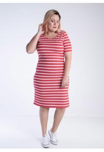 Vestido Mirasul Listrado Bicolor Vermelho - Kanui