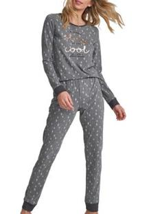 Conjunto Pijama Com Amor Feminino - Feminino-Mescla Escuro