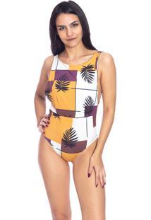 Body Moda Vicio Com Bojo Decote Costas Floral Amarelo
