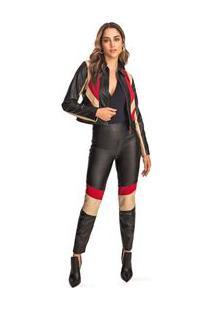 Calça Morena Rosa Skinny Cós Intermediário Composê De Tecidos Preto