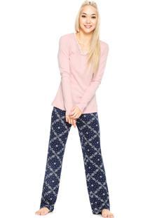 Pijama Cor Com Amor V Estampado Rosa/Azul-Marinho