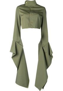 Loewe Jaqueta Cropped Mangas Longas - Green