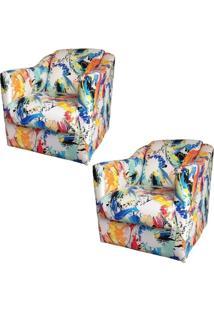 Kit 02 Poltronas Decorativa Tilla Tecido Color - Nay Estofados