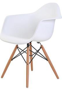 Cadeira Eames Eiffel Com Braco Polipropileno Cor Branco Base Madeira - 44914 - Sun House