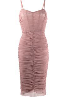 Dolce & Gabbana Vestido Midi Drapeado - Roxo