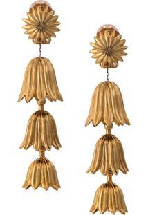 Oscar De La Renta Engraved Drop Earring - Dourado