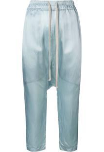 ede091ec4 Farfetch. Calça Azul Feminina Rick Owens Viscose Cintura Media Saruel  Cropped -