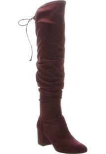 Bota Over The Knee Acamurçada Com Franzidos - Vinho-Schutz