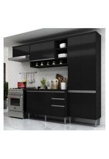 Cozinha Completa Multimóveis Suíça 5195Ml Com Balcáo 10 Portas 2 Gavetas Preto