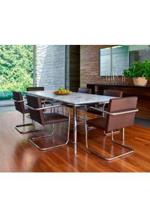 Cadeira Mr245 Cromada Couro Bege C