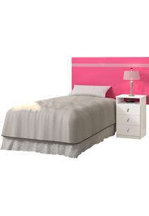 Cabeceira De Solteiro 90Cm Agata Brilho-Cambel - Branco / Rosa