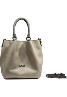Bolsa Em Couro Recuo Fashion Bag Baú Cacau/Grafite