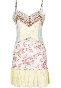 Blumarine Slip Dress Com Recortes E Acabamento De Renda - Amarelo