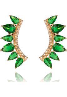 Brinco Soloyou Ear Cuff De Zircônia Esmeralda Semijoia Ouro 18K Verde