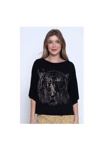 Blusa Bisô Tiger Preta