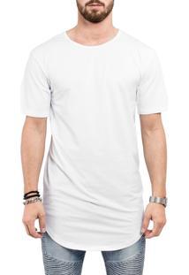 Camiseta Criativa Urbana Long Line Oversized Branca Lisa