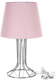 Abajur Torre Dome Rosa Com Aramado Cromado