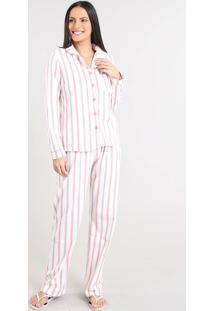 Pijama De Inverno Feminino Listrado Em Fleece Manga Longa Off White