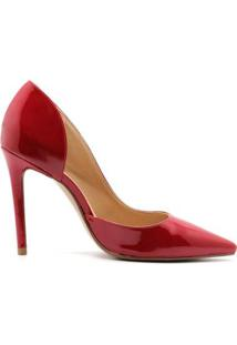 Scarpin Royalz Verniz Abertura D'Orsay Salto Feminino - Feminino-Vermelho