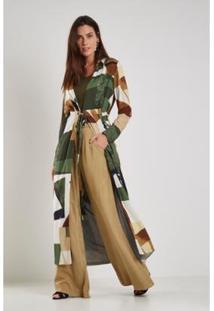 Kimono Sacada Estampa Floresta Dia - Feminino-Verde+Bege