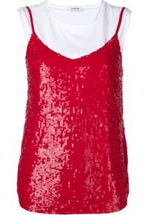 P.A.R.O.S.H. Vestido Com Sobreposição E Paetês - Vermelho