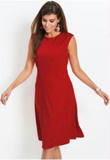 Vestido Evasê Ponto Roma Vermelho