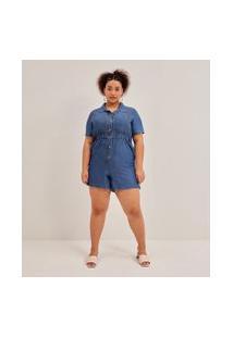 Macacão Com Bolsos E Botões Em Jeans Liocel Curve & Plus Size | Ashua Curve E Plus Size | Azul | Gg