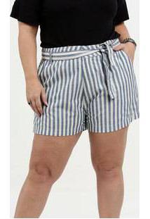 Short Feminino Clochard Listrado Plus Size Razon