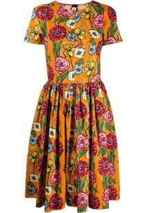 Marni Vestido Com Estampa Floral - Laranja