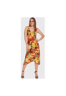Vestido Mullet Carbella Lidia Liganete Floral Midi Amarelo Vermelho