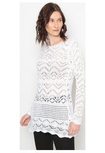 Ponto Aguiar Blusa Alongada Em Tricã´ Branca