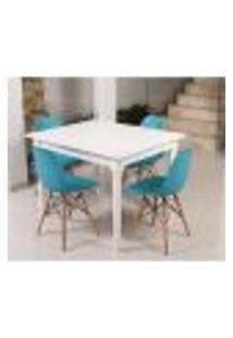 Conjunto Mesa De Jantar Robust 110X90 Branca + 04 Cadeiras Charles Eames Eiffel - Turquesa
