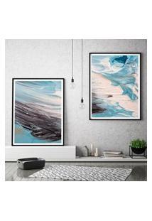 Quadro Com Moldura Chanfrada Efeito Pintura Azul Grande