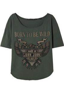 Camiseta John John Born Wild Malha Verde Feminina (Verde Medio, G)