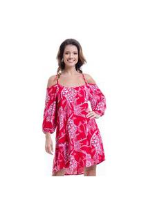 Vestido 101 Resort Wear Ciganinha Viscose Estampado Vermelho
