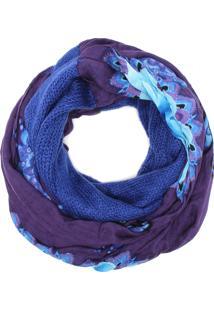 Lenço Desigual Loop Roxo/Azul