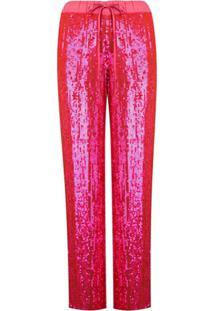 P.A.R.O.S.H. Sequin Wide-Leg Trousers - Rosa