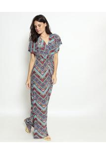 Vestido Longo Étnico Transpassado- Azul & Bordô- Nolnolitta