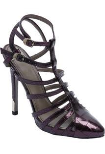 f8a1df407 -77% Sapato Tradicional Em Couro Com Tiras - Roxo - Saltoversace Collection