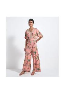 Macacão Pantalona Estampa Floral Com Detalhes Entremeios   Marfinno   Laranja   Pp