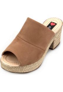 Tamanco Love Shoes Salto Bloco Meia Pata Plataforma Mule Nobuck Caramelo