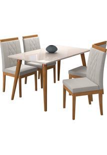 Conjunto De Mesa Com 4 Cadeiras Para Sala De Jantar 130X80 Adele/Alice - Cimol - Madeira / Offwhite / Aspen