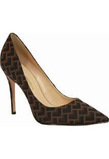 Scarpin Conceito Fashion Salto Alto Tecido Geométrico - Feminino-Marrom