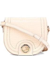 Bolsa Couro Jorge Bischoff Mini Bag Textura Croco Feminina - Feminino-Nude