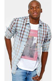 Camisa Calvin Klein Xadrez Marmorizada Stone Masculina - Masculino